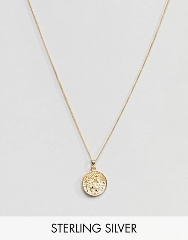 エイソス メンズ ネックレス・チョーカー アクセサリー ASOS DESIGN Sterling Silver St Christopher Necklace With Gold Plating Gold