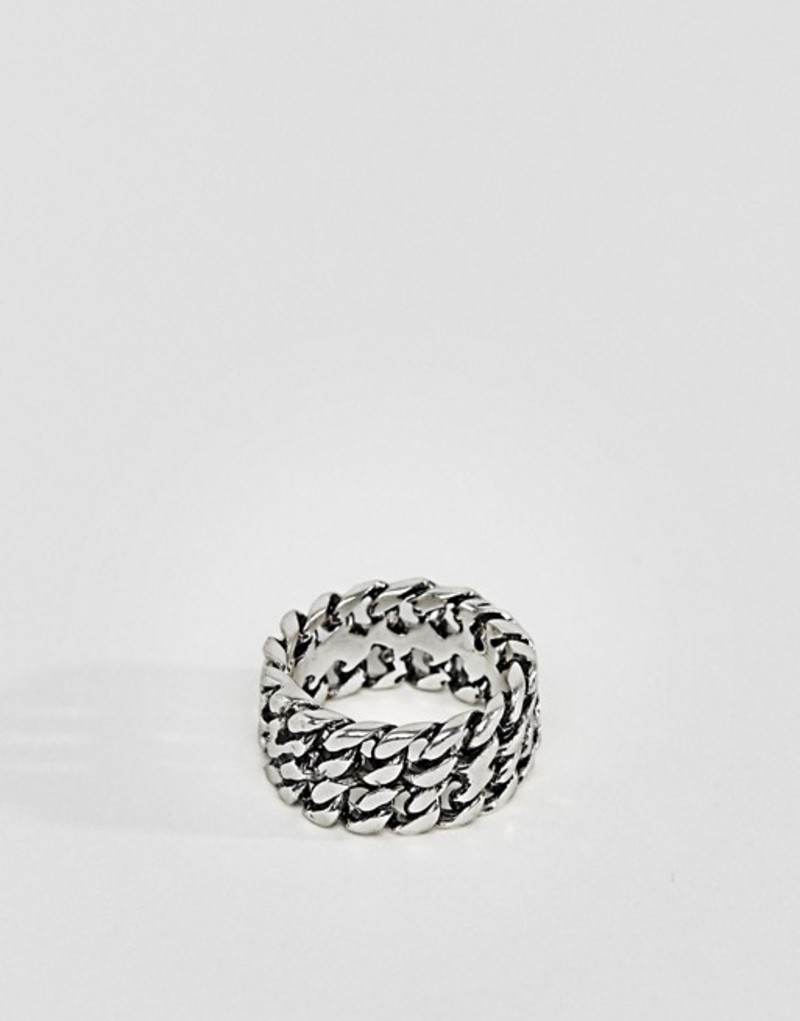 アイコンブランド メンズ 指輪 アクセサリー Icon Brand Chain Band Ring In Antique Silver Silver