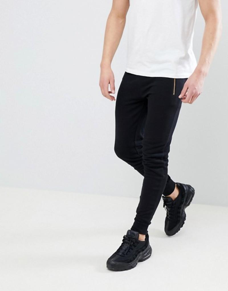 エイソス メンズ カジュアルパンツ ボトムス ASOS DESIGN Super Skinny Joggers With Gold Zip Pockets In Black Black