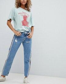 プルアンドベアー レディース デニムパンツ ボトムス Pull&Bear rainbow side stripe jeans in blue Blue