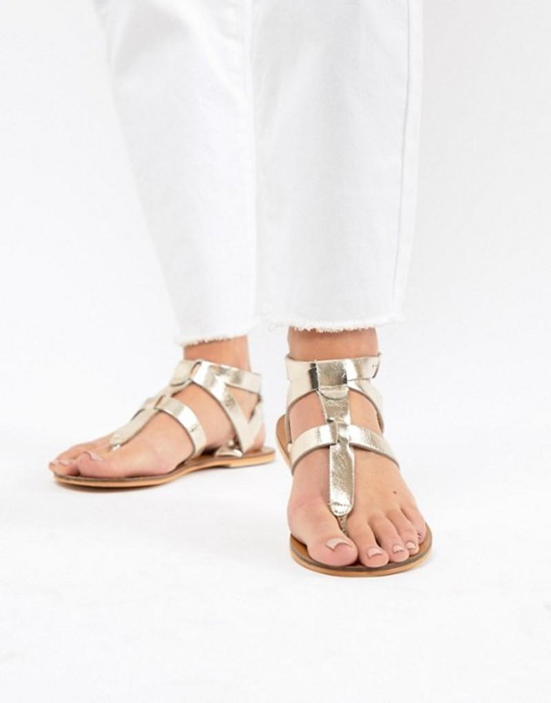 ウエアハウス レディース サンダル シューズ Warehouse Leather Toe Post T-Bar Sandals Gold