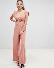 エイソス レディース ワンピース トップス ASOS DESIGN knot front jumpsuit with cut out detail and wide leg Dusky pink