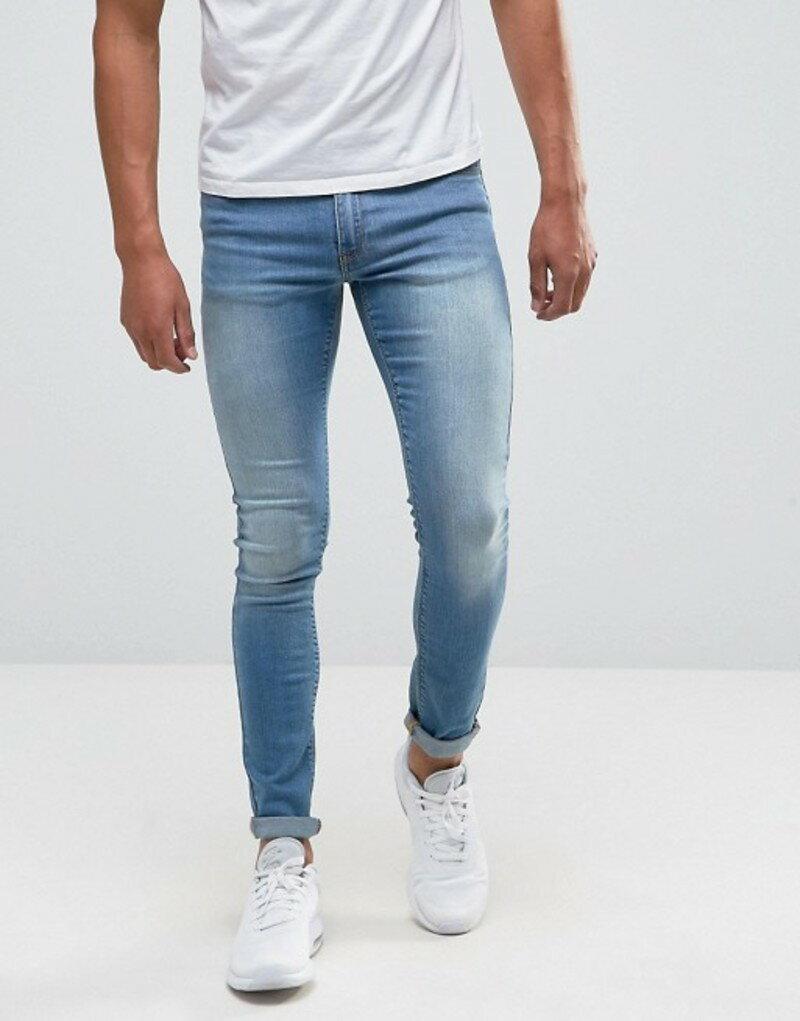 エイソス メンズ デニムパンツ ボトムス ASOS Extreme Super Skinny Jeans In Light Wash Light blue