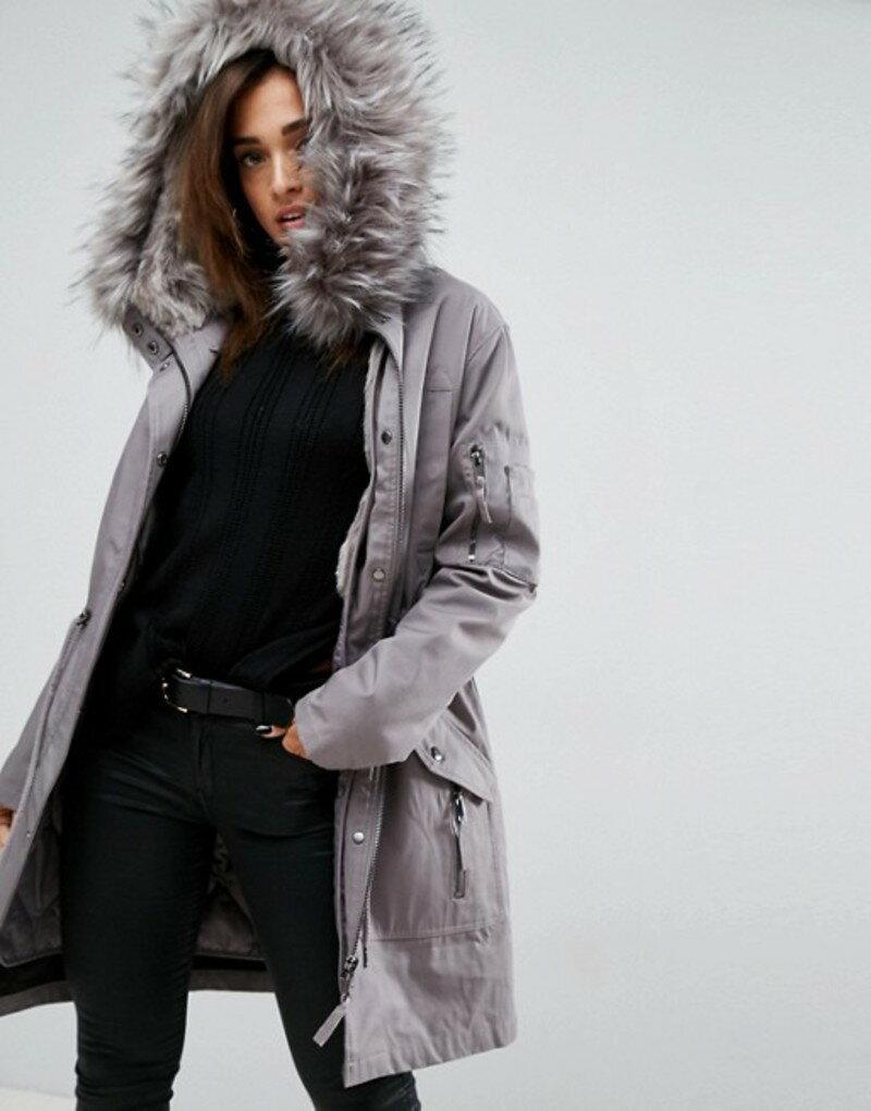 エイソス レディース パーカー・スウェット アウター ASOS Parka with Detachable Faux Fur Liner Grey