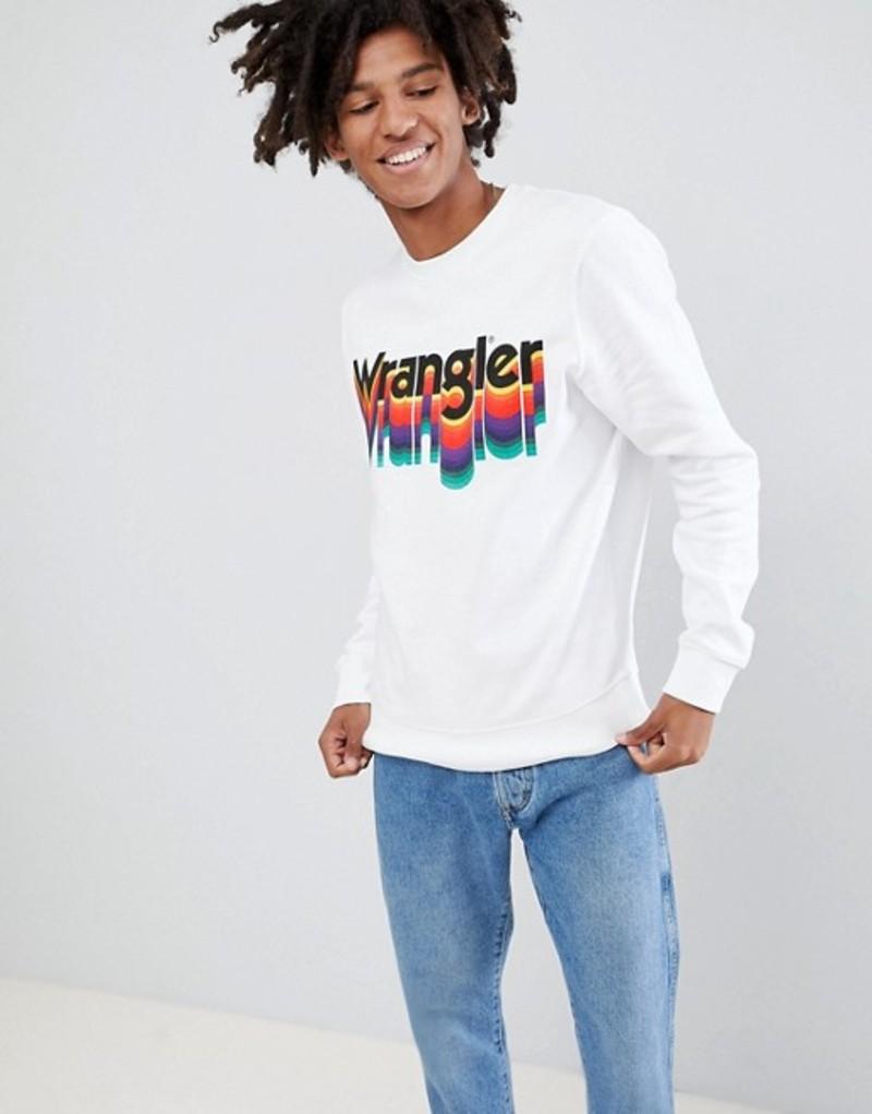 ラングラー メンズ パーカー・スウェット アウター Wrangler Rainbow Logo Sweatshirt White