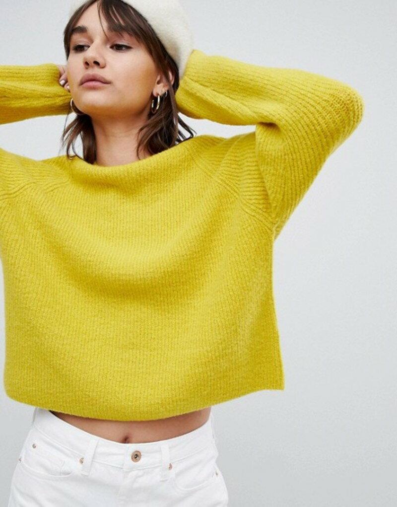 エイソス レディース ニット・セーター アウター ASOS DESIGN fluffy sweater in rib Piccalili yellow