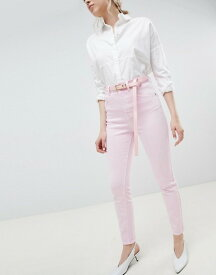 エイソス レディース デニムパンツ ボトムス ASOS DESIGN Farleigh high waist mom jeans in washed pink with belt Pink