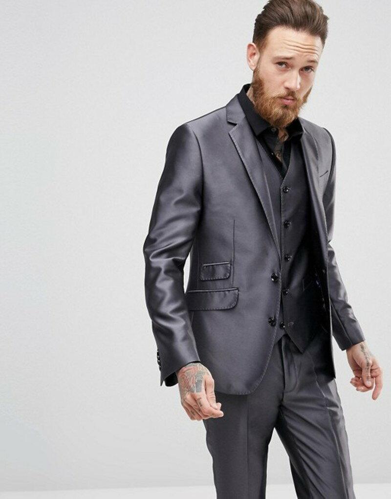 デビルズ アドボケート メンズ ジャケット・ブルゾン アウター Devils Advocate Slim Fit Metallic Suit Jacket Grey