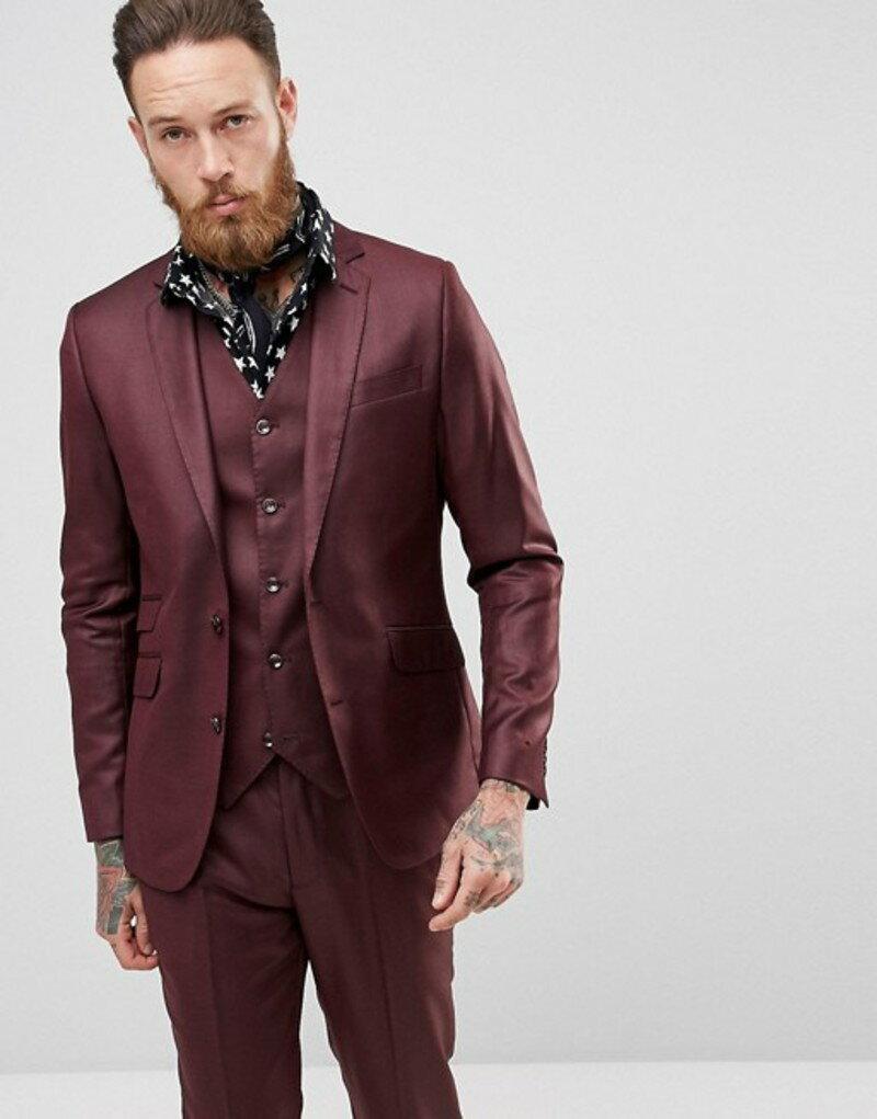 デビルズ アドボケート メンズ ジャケット・ブルゾン アウター Devils Advocate Slim Fit Metallic Suit Jacket Red