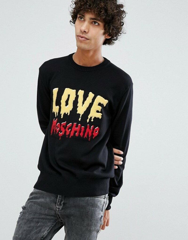 ラブ モスキーノ メンズ ニット・セーター アウター Love Moschino Melt Font Sweater Black