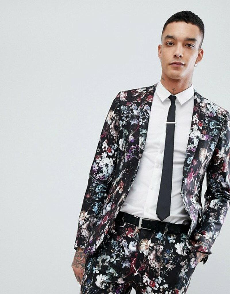 デビルズ アドボケート メンズ ジャケット・ブルゾン アウター Devil's Advocate Super Skinny Fit Floral Suit Jacket Black