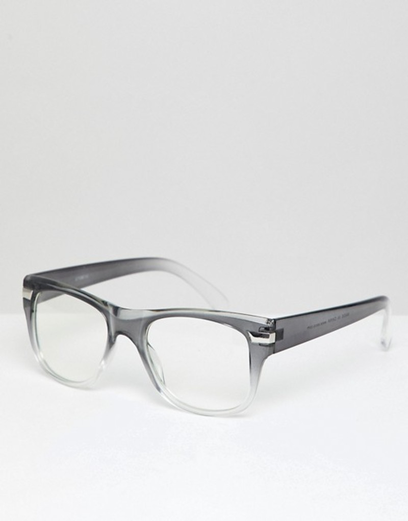 エイソス メンズ サングラス・アイウェア アクセサリー ASOS DESIGN Square Glasses In Gray Fade With Clear Lens Grey