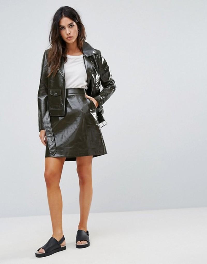 ウエアハウス レディース スカート ボトムス Warehouse Patent Faux Leather Pelmet Khaki