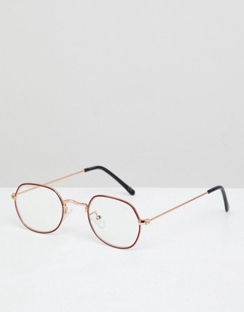 エイソス メンズ サングラス・アイウェア アクセサリー ASOS DESIGN Angled Round Glasses In Gold With Red Edge Detail & Clear Lens Gold
