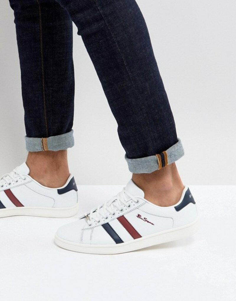 ベンシャーマン メンズ スニーカー シューズ Ben Sherman Retro Stripe Sneakers White