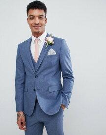 ハリー ブラウン メンズ ジャケット・ブルゾン アウター Harry Brown Wedding Wool Blend Blue Donegal Skinny Fit Jacket Blue