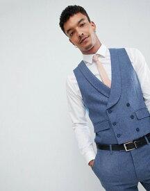 ハリー ブラウン メンズ タンクトップ トップス Harry Brown Wedding Wool Blend Blue Donegal Skinny Fit Curved Vest Blue