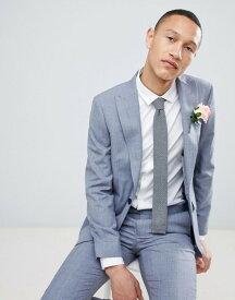 モス ブラザーズ メンズ ジャケット・ブルゾン アウター Moss London skinny suit jacket in blue wool mix Lt blue crepe