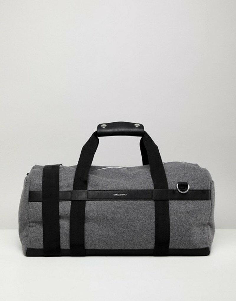 エイソス メンズ ボストンバッグ バッグ ASOS DESIGN Carryall In Gray With Faux Leather Straps And Silver Emboss Grey