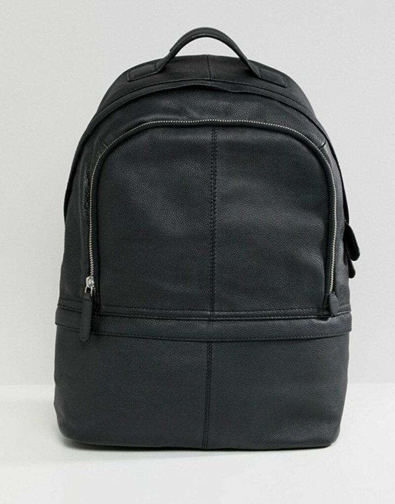 エイソス メンズ バックパック・リュックサック バッグ ASOS Leather Harvard Backpack Black