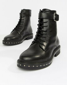 エイソス レディース ブーツ・レインブーツ シューズ ASOS DESIGN Wide Fit Algebra leather lace up boots Black leather