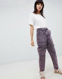 エイソス レディース デニムパンツ ボトムス ASOS DESIGN carpenter boyfriend jeans with utility styling in pink acid wash Pink acid wash