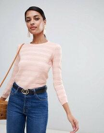 ウエアハウス レディース ニット・セーター アウター Warehouse stitch detail sweater in pale pink Pale pink