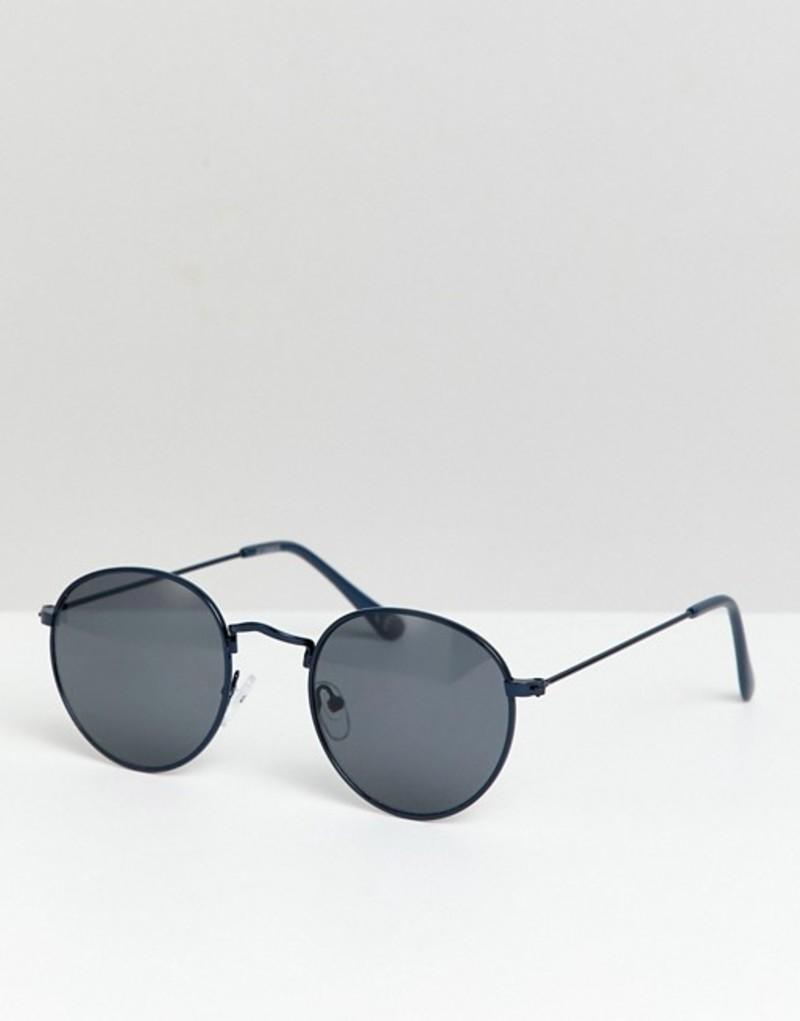 エイソス メンズ サングラス・アイウェア アクセサリー ASOS DESIGN round sunglasses in navy metal with smoke lens Navy