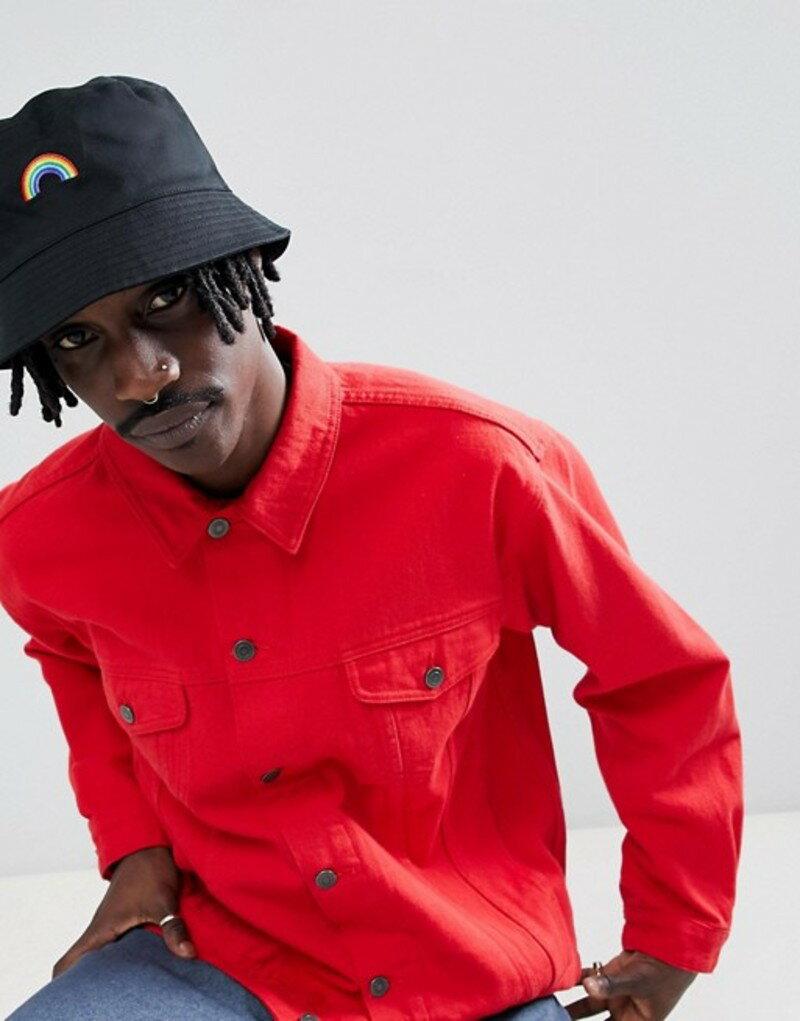 エイソス メンズ 帽子 アクセサリー ASOS DESIGN bucket hat in black with rainbow embroidery Black