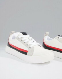 カルバンクライン レディース スニーカー シューズ Calvin Klein white Dodie sneakers with suede stripes White