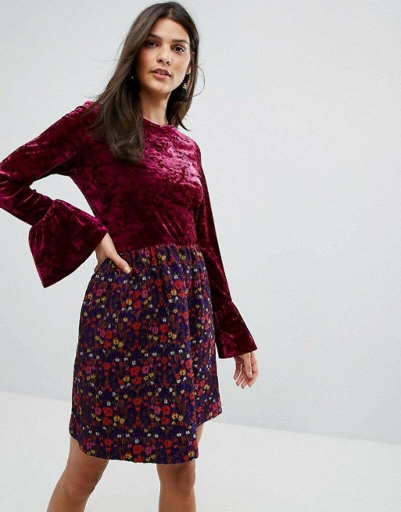 アナスイ レディース ワンピース トップス Anna Sui Crushed Velvet Dress with Jaqcuard Floral Skirt Amethyst multi