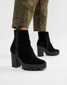 カルバンクライン レディース ブーツ・レインブーツ シューズ Calvin Klein Serina black suede chunky chunky heeled chelsea boots Black suede