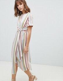 ウエアハウス レディース ワンピース トップス Warehouse knot front midi dress in pastel stripes Multi
