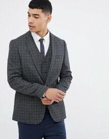 エイソス メンズ ジャケット・ブルゾン アウター ASOS DESIGN skinny blazer in charcoal wool mix grid check Charcoal