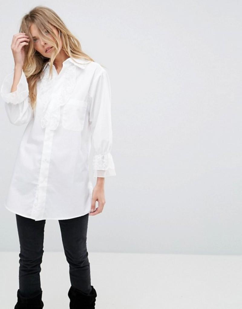 アナスイ レディース シャツ トップス Anna Sui Vine Lace Trim Shirt White