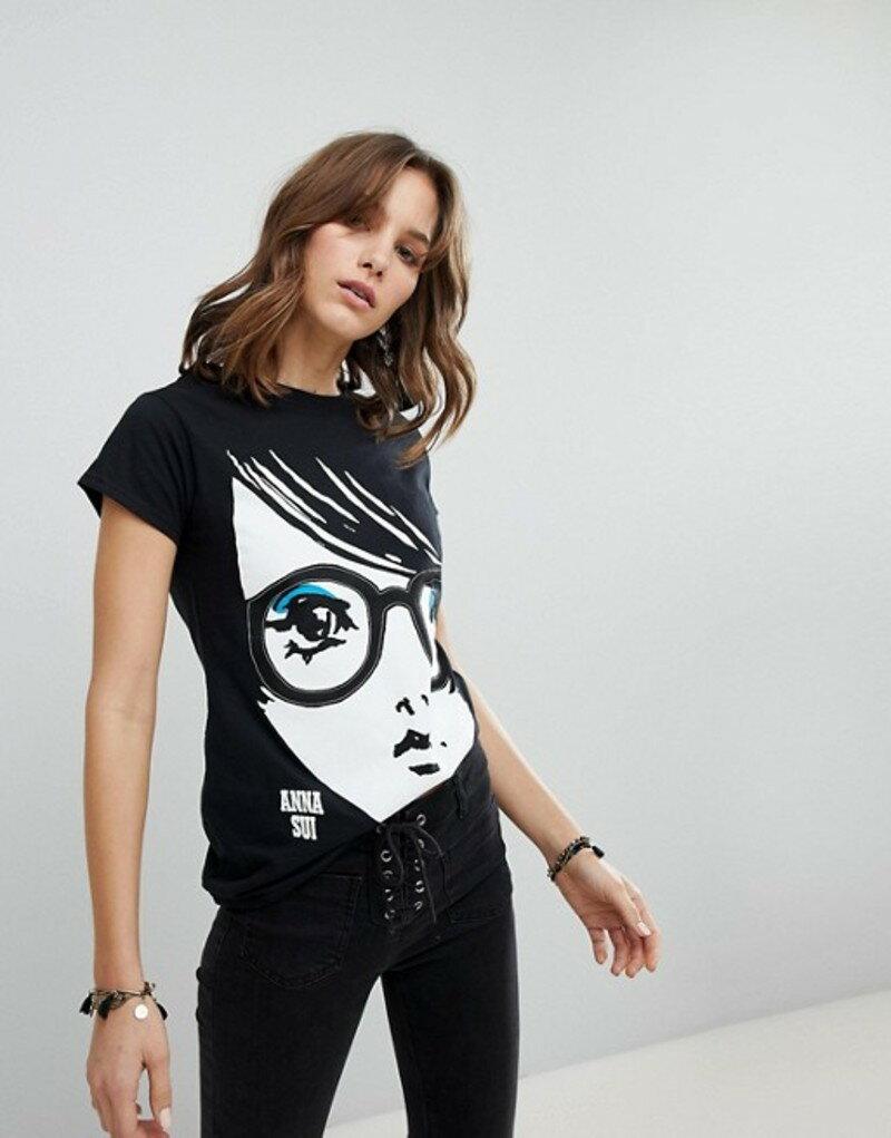 アナスイ レディース Tシャツ トップス Anna Sui Face Jersey T-Shirt Black