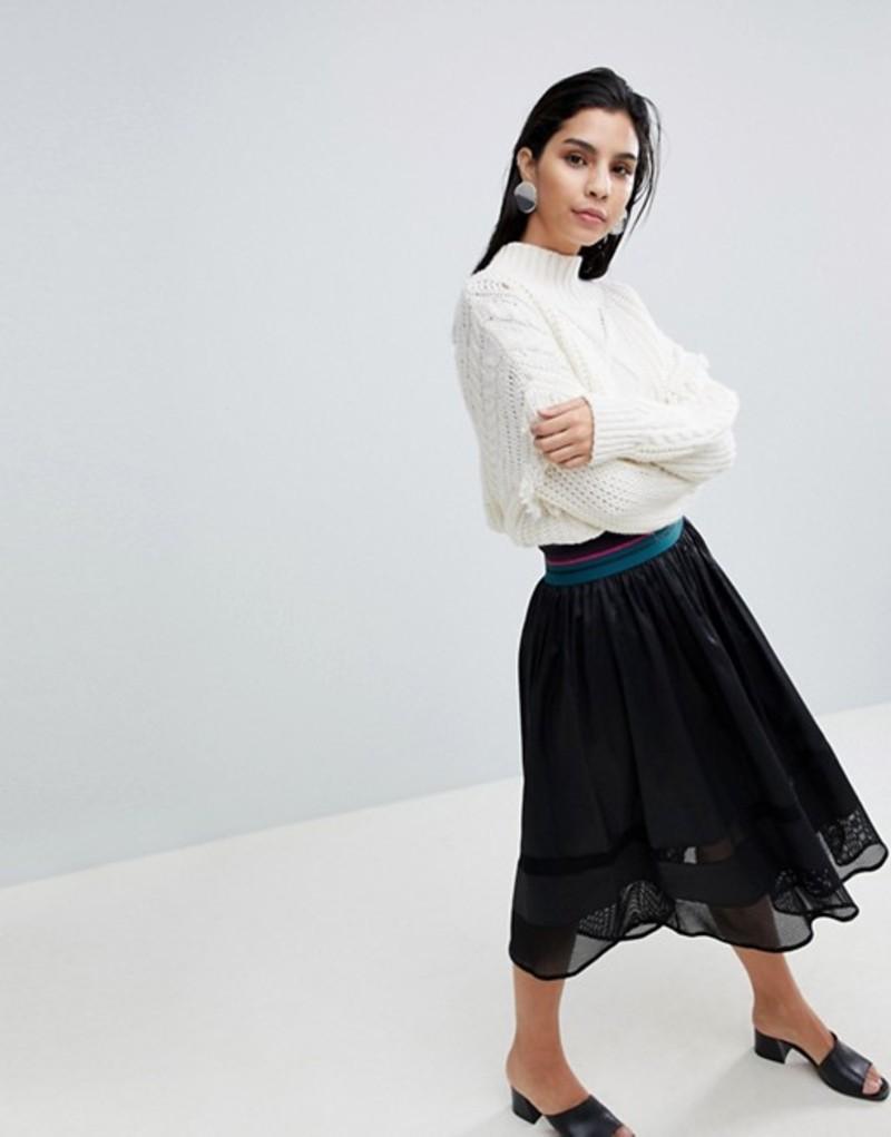 シスレー レディース スカート ボトムス Sisley Elasticated Waist Midi Skirt Black