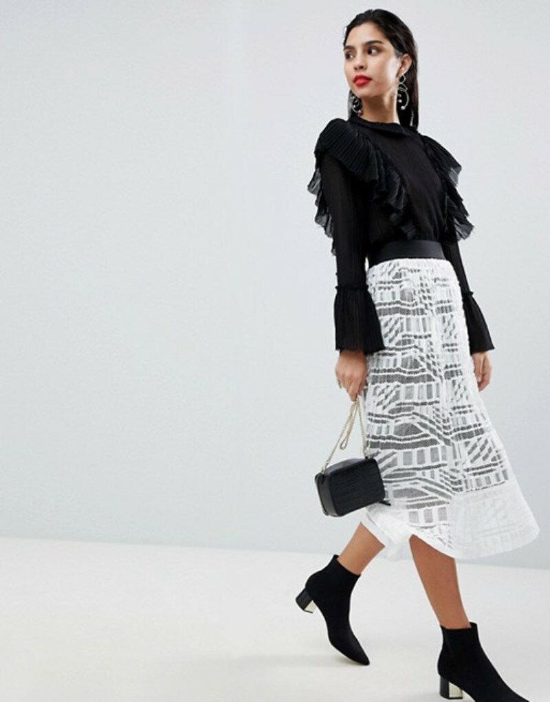 シスレー レディース スカート ボトムス Sisley Lace Pleated Midi Skirt Cream