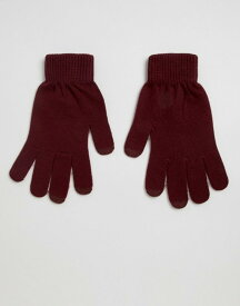 エイソス レディース 手袋 アクセサリー ASOS DESIGN touch screen gloves in recycled polyester Burgundy