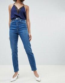 エイソス レディース デニムパンツ ボトムス ASOS DESIGN Farleigh high waist slim mom jeans in dark stonewash blue Dark stonewash blue