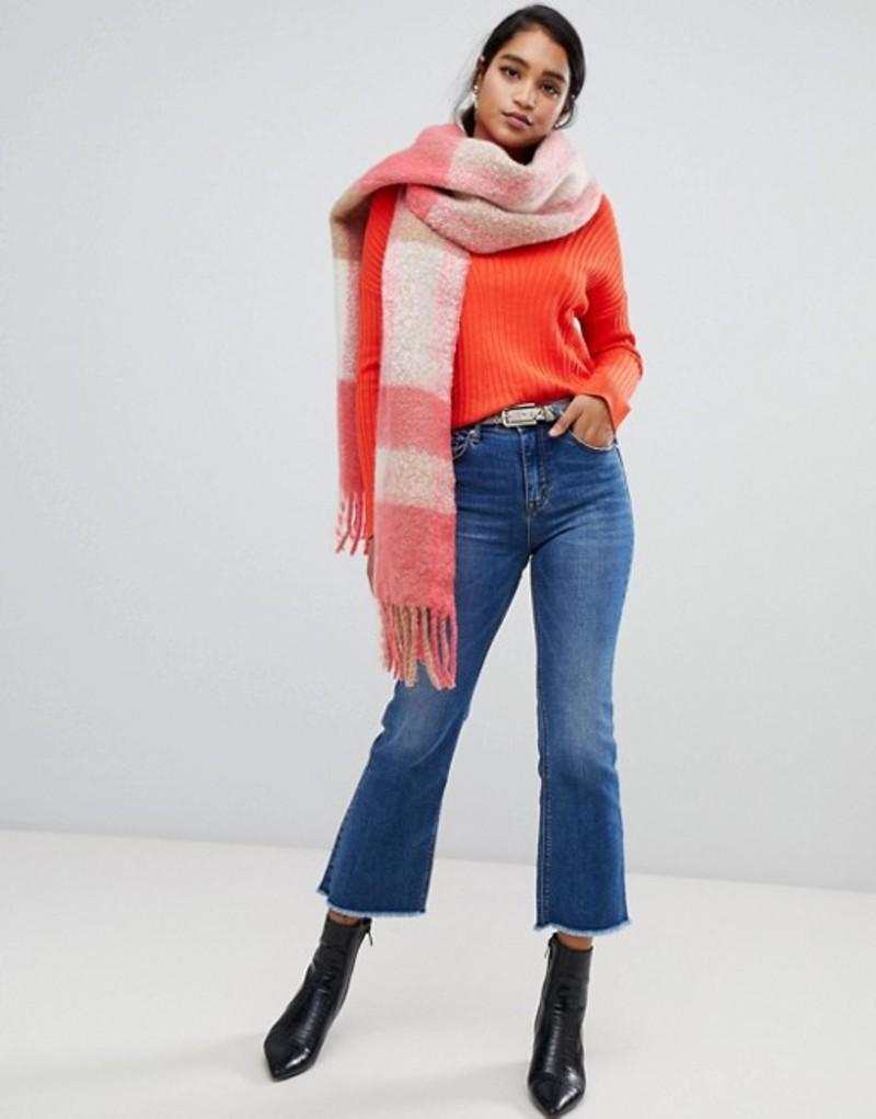 エイソス レディース マフラー・ストール・スカーフ アクセサリー ASOS DESIGN woven long pink check fluffy scarf with tassels Multi