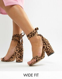 9d30888d0f75 エイソス レディース ヒール シューズ ASOS DESIGN Wide Fit Howling tie leg heeled sandals in  leopard print