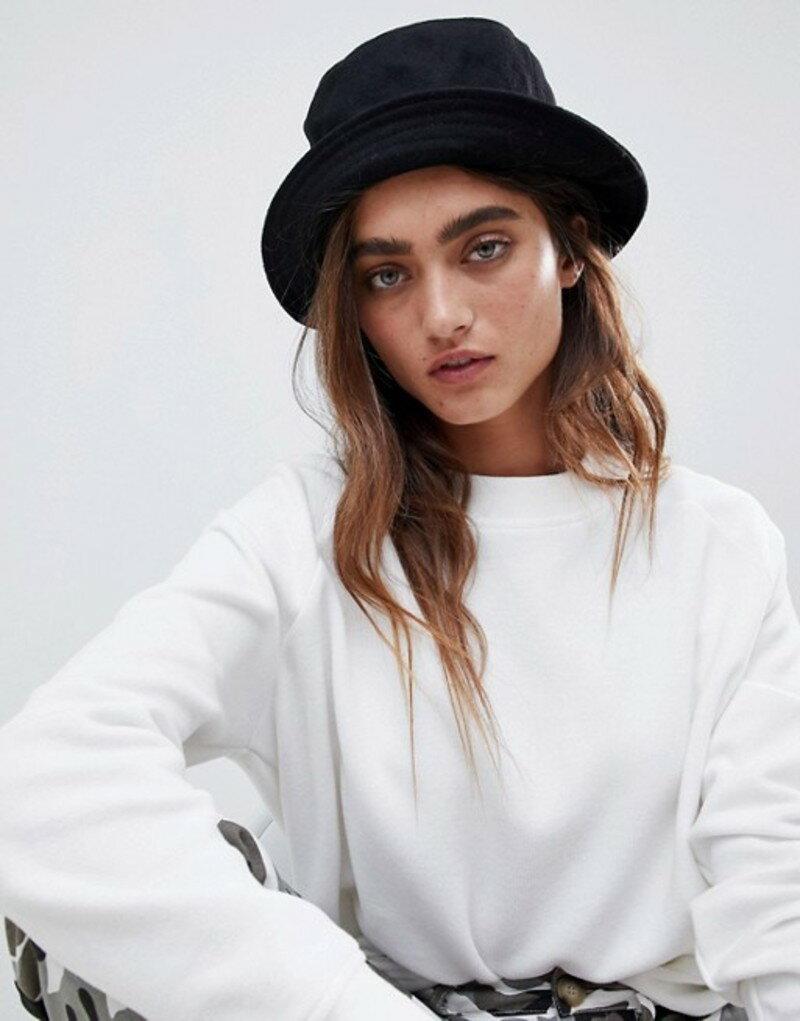 エイソス レディース 帽子 アクセサリー ASOS DESIGN wool bucket hat Black