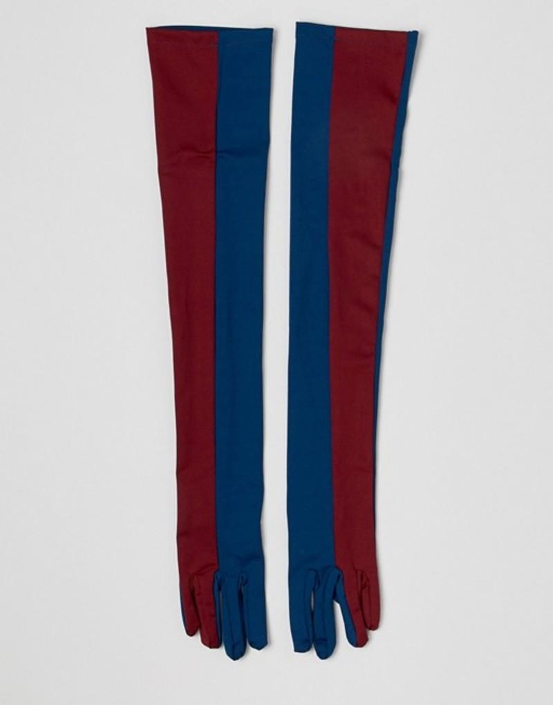 エイソス レディース 手袋 アクセサリー ASOS DESIGN colourblocked extra long glove Navy