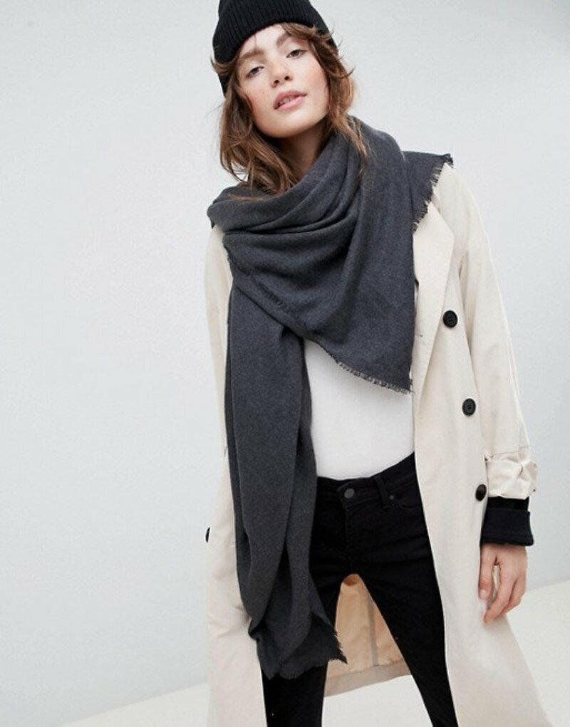 エイソス レディース マフラー・ストール・スカーフ アクセサリー ASOS DESIGN super soft square lightweight viscose scarf Grey
