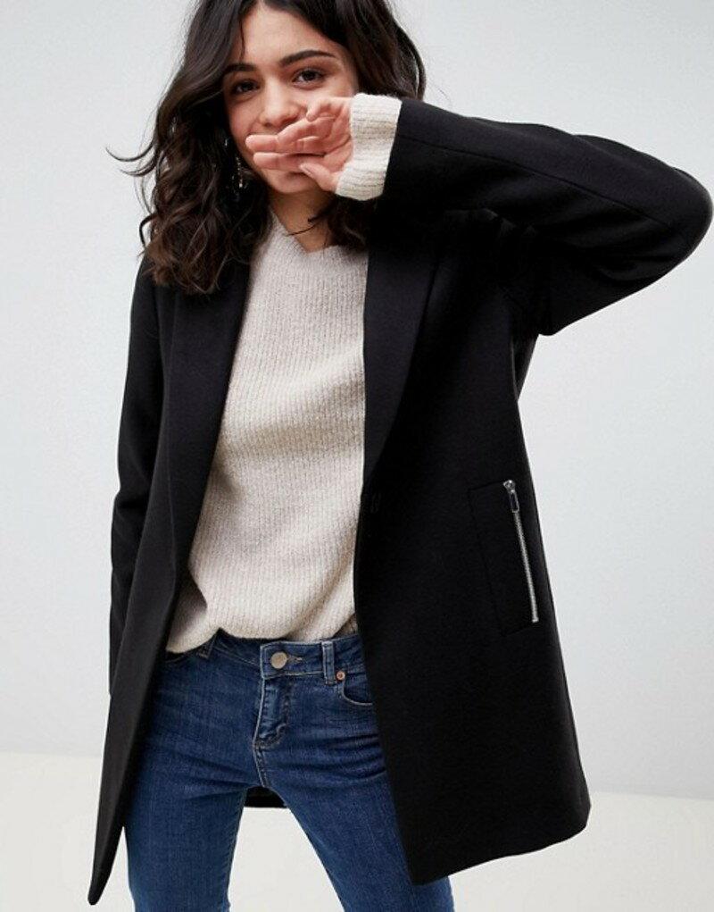 エイソス レディース コート アウター ASOS DESIGN boyfriend coat with zip pocket Black