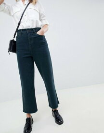 エイソス レディース デニムパンツ ボトムス ASOS DESIGN wide leg jeans in overdyed dark green textured stripe Dark green