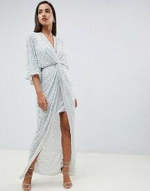 エイソス レディース ワンピース トップス ASOS DESIGN scatter sequin knot front kimono maxi dress Ice green