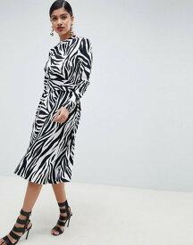 エイソス レディース ワンピース トップス ASOS DESIGN high neck cut out midi dress in zebra print Multi