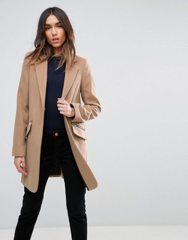 エイソス レディース コート アウター ASOS Slim Boyfriend Coat with Zip Pocket Camel